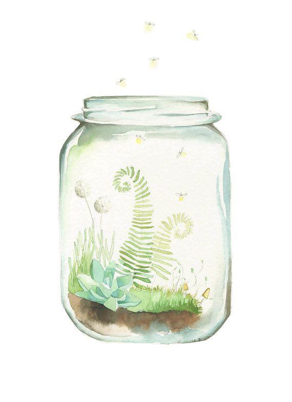 Little World Print of my original watercolor mason jar terrarium. Little fireflies dance among the ferns and moss covered earth.