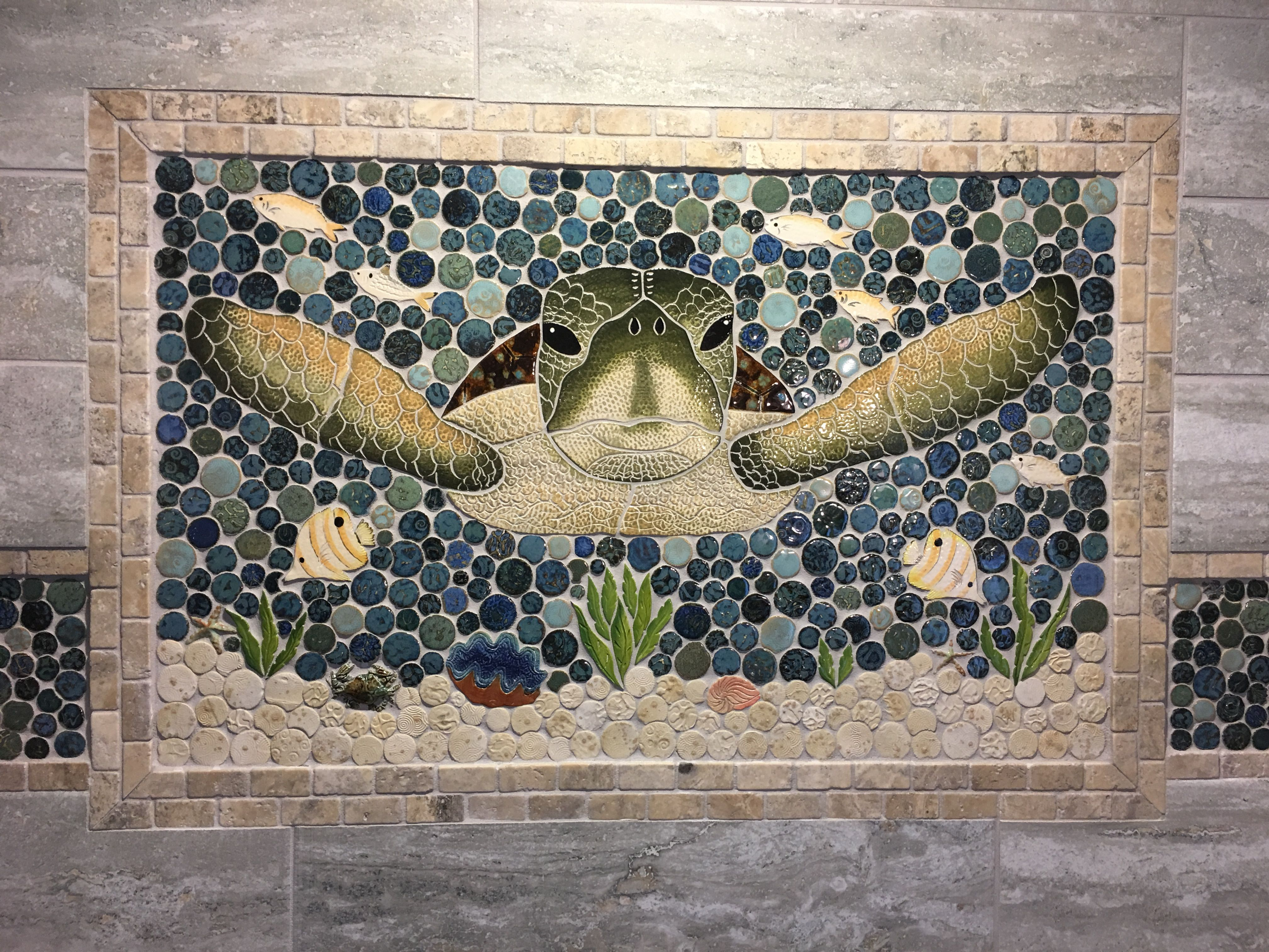 Greatest New hand cut ceramic tile sea turtle mosaic shower insert  PB85