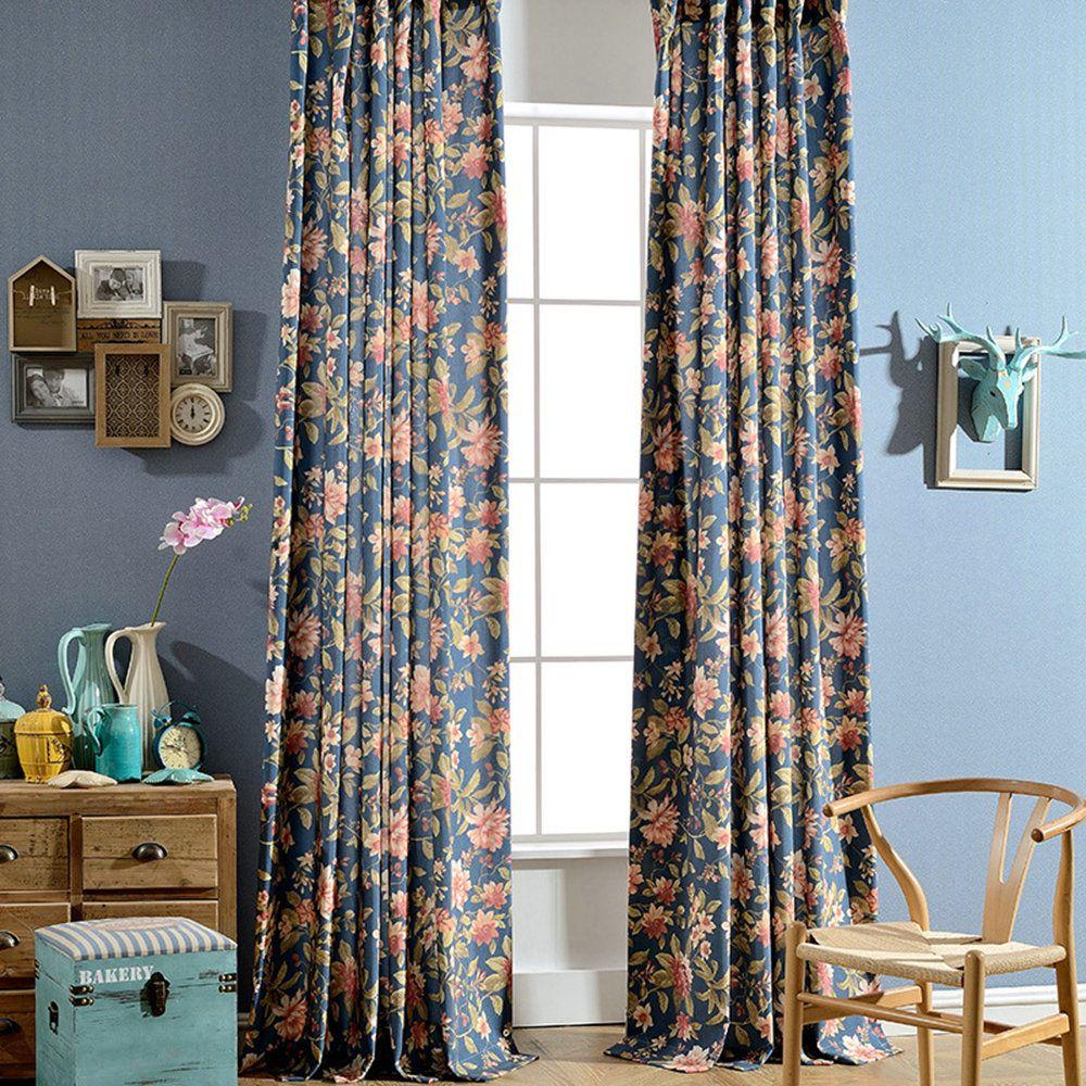 (1er Pack) Vorhang Landhaus Stil Blumen Design Blau Im