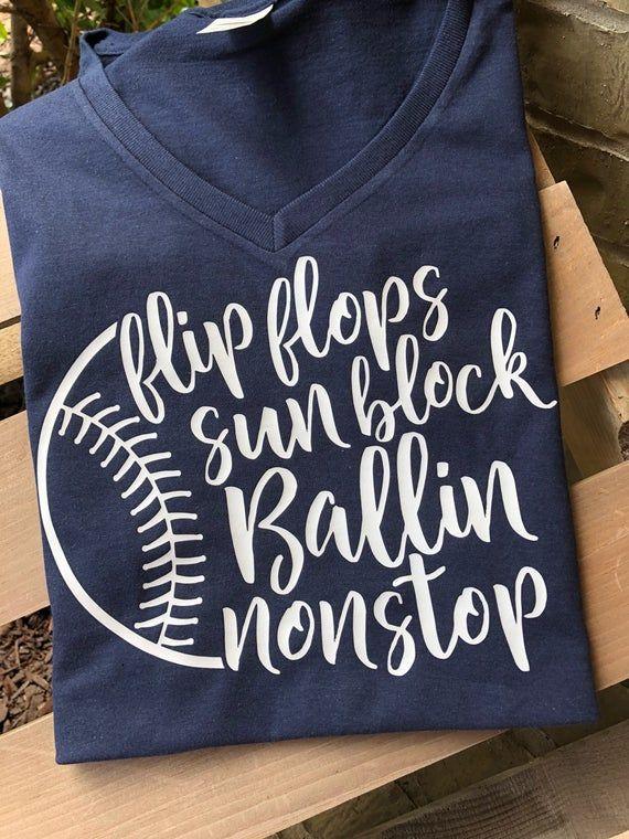 Photo of Baseball, ballin non stop, flip flops sunblock and ballin nonstop, baseball mom, baseball shirt, love baseball, baseball mom shirt, cute