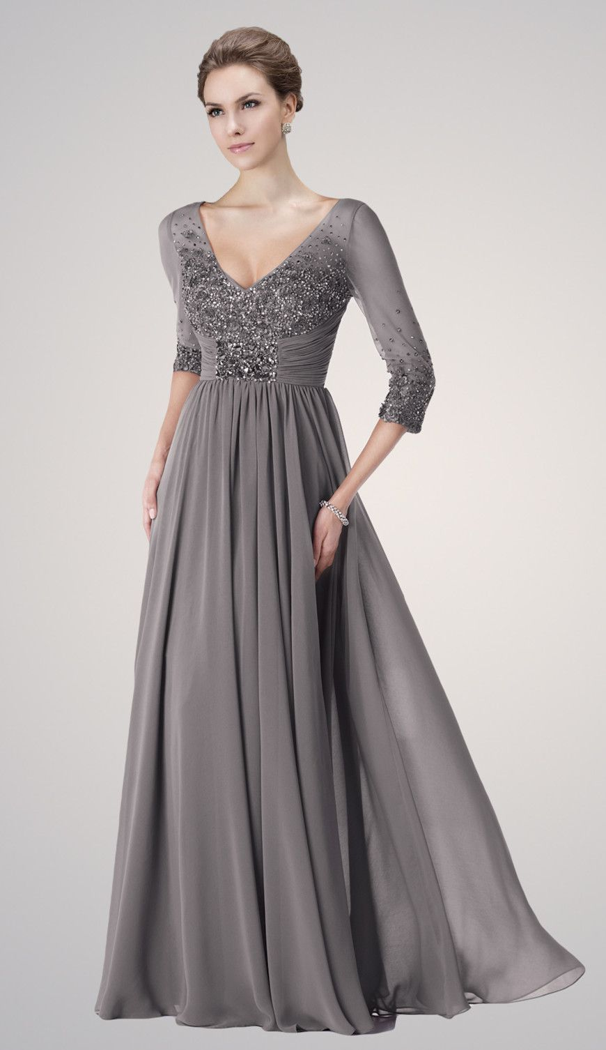 Plus size v neck grey chiffon mother of the bride dresses for Plus size formal dresses for weddings