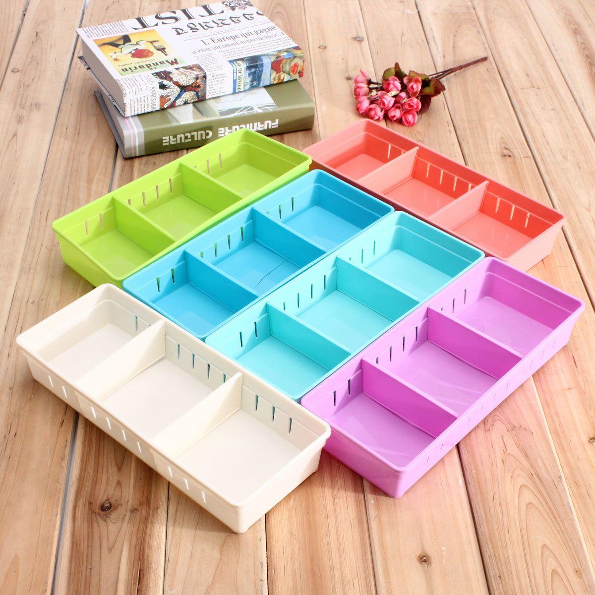 5 Colors Adjustable Makeup Storage Box Drawer Home Kitchen Office ...
