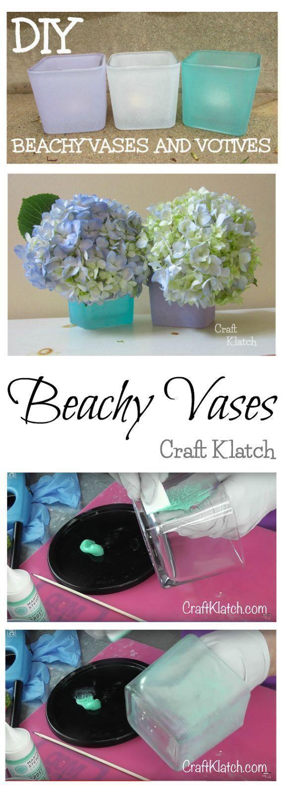 DIY Beachy Vases and Votives!!! beach, beach craft, beach glass, beachy, candleholder, craft, craft ideas, crafting, crafts, diy, glass paint, hack, how to, idea, ideas, martha stewart, sea glass, summer, vase, votive