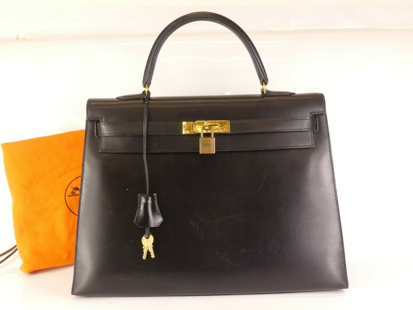 864c16d15914 rk810 Auth HERMES KELLY 35 Out Stitch Black Box Calf Leather Hand ...