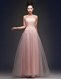 Prom / Formal Evening / Holiday / Family Gathering Dress - Floral / See Through / Lace-up A-line Bateau Floor-length Tulle withBeading / – USD $ 66.49