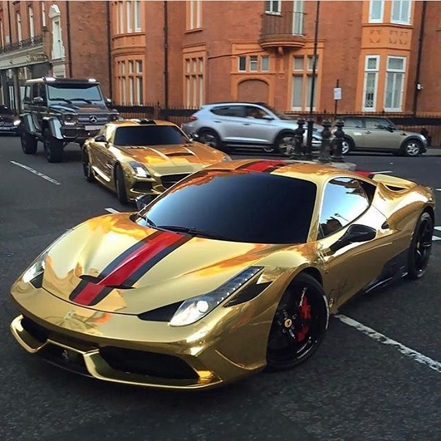 Supercars Galore Gold Ferrari Super Cars Luxury Cars Lux Cars