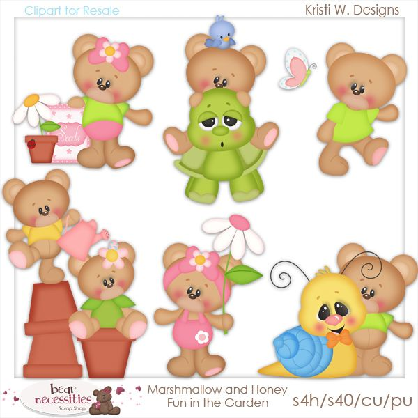 Marshmallow and Honey Fun in the Garden  Clipart for Resale www.bearnecessitiesscraps.com