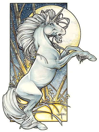 art nouveau unicorn | Art | Pinterest | Unicornios, Unicornio y ...