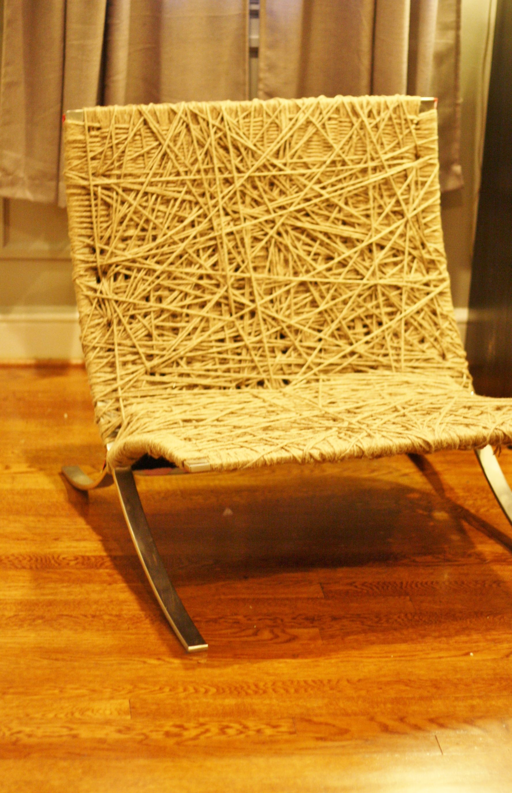 Price reduced sturdy wooden vintage rocking chair made in yugoslavia - Barcelona Chair Hand Strung With Jute Cord Rope Woven In A Random Pattern To Create Seat And Back Rest Frame Is Made Up Of Stainless Steel