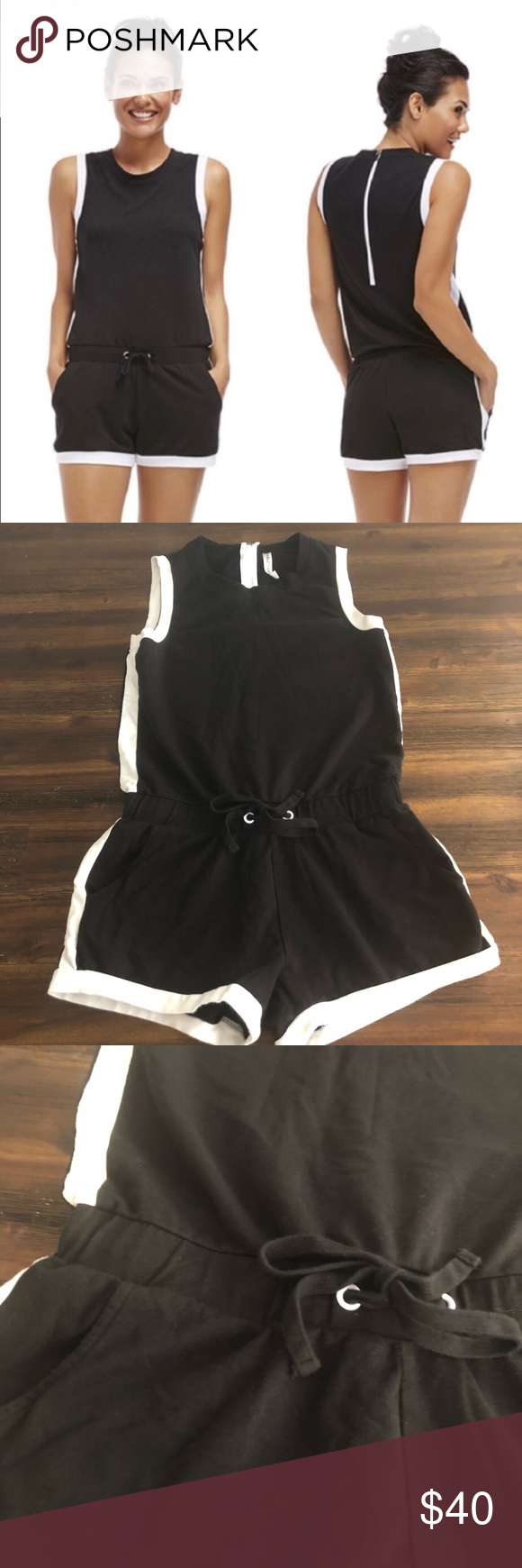 3722a1a703a4 Fabletics Black and White Lakeside Romper Fabletics Black and White  Lakeside Romper XS - EUC Armpit
