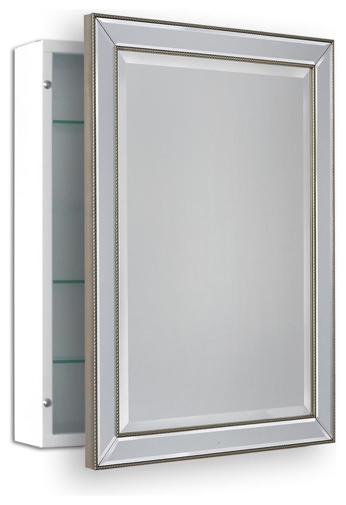 22 X30 Metro Beaded Surface Mount Medicine Cabinet Traditional Medicine Cabinets Surface Mount Medicine Cabinet Adjustable Shelving Glass Shelves Decor