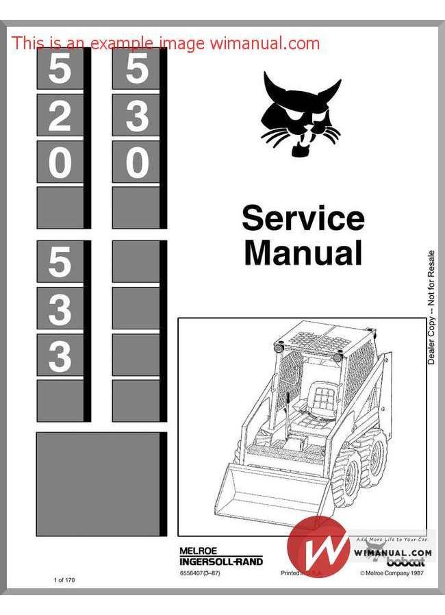 Bobcat 530 533 Skid Steer Loader Service Manual 6556407 Skid