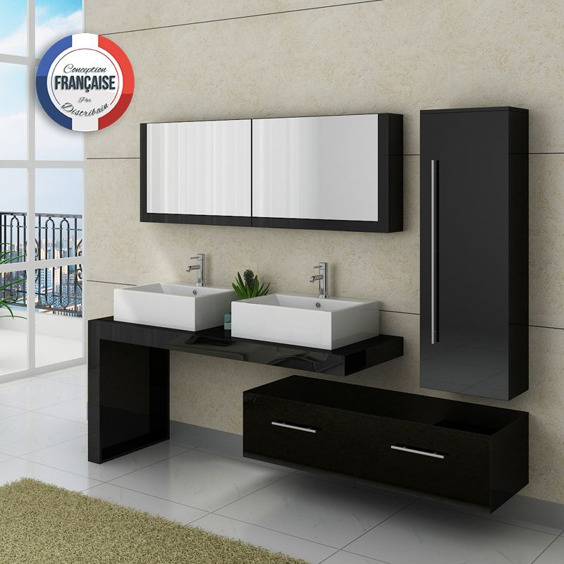 Dis9350n meuble salle de bain noir salles de bain noires for Colonne de salle de bain avec miroir