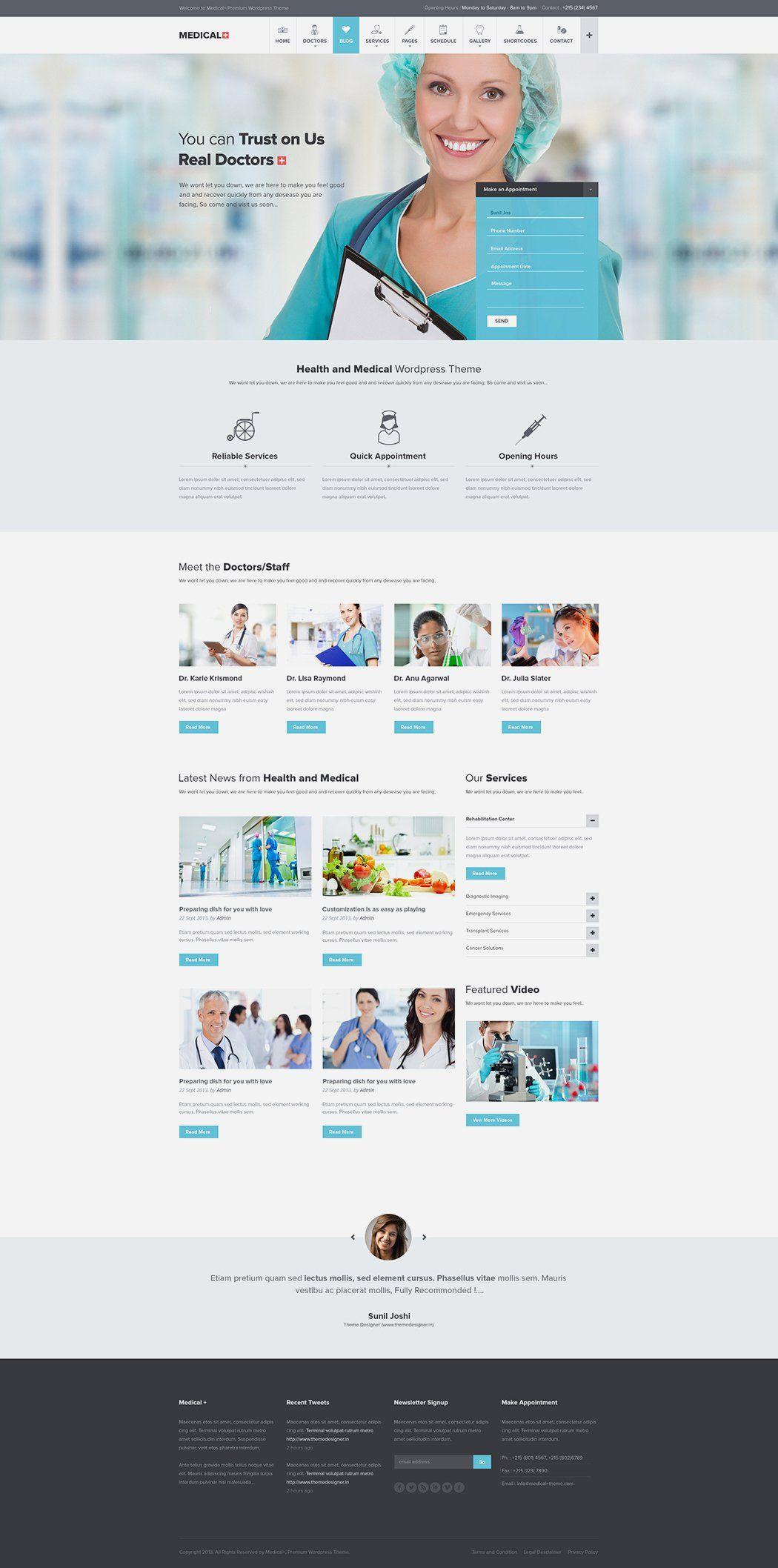 Free Medical WP Theme PSD