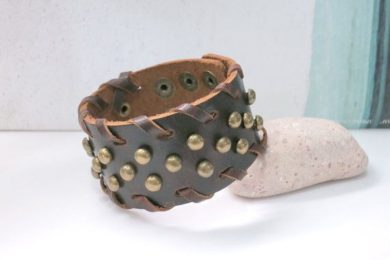 Steampunk Unisex Brown Leather Brass Metal Rivets by AccessoriesG, $7.99