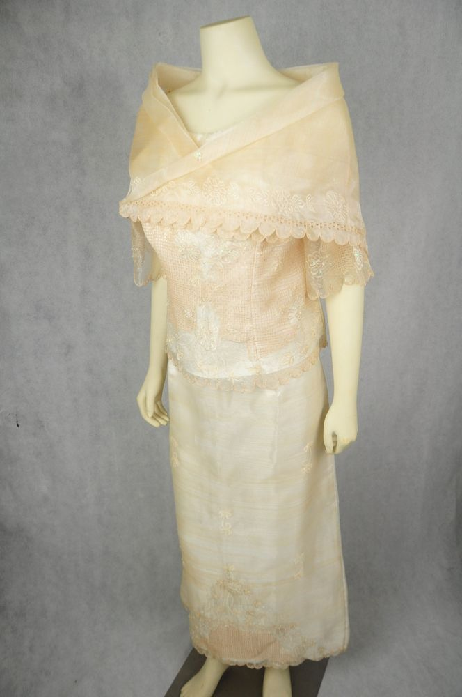filipiniana cream maria clara 3 piece banig callado embroidered xxl