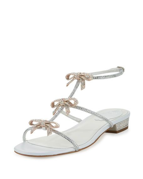 094b881745a08 Crystal Bow-Embellished T-Strap Flat Sandal