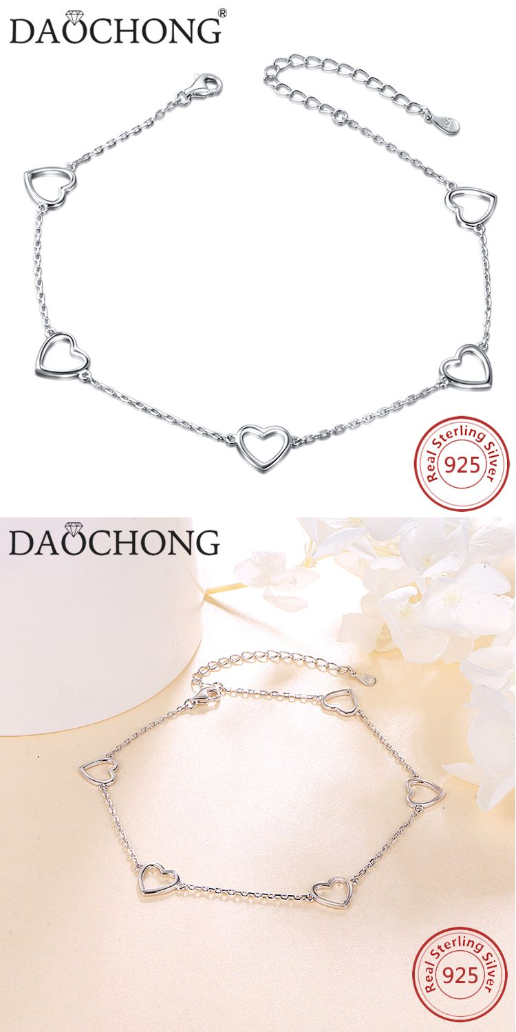 Fashion design heart shape foot jewelry sterling silver anklets