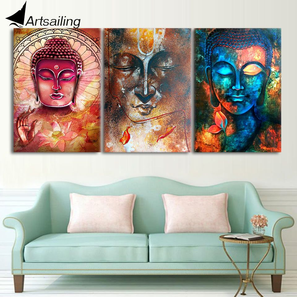 Hd Printed Buddha Wall Art 3 Piece Canvas Living Room Decoration Modern Pieces Free Shipping Ny 6262 Affiliate