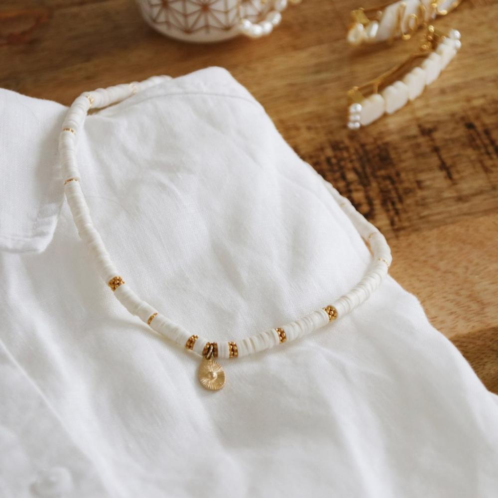 Grand Coquillage perles nacre 3cm nacre perles disques blanc rose gris 196