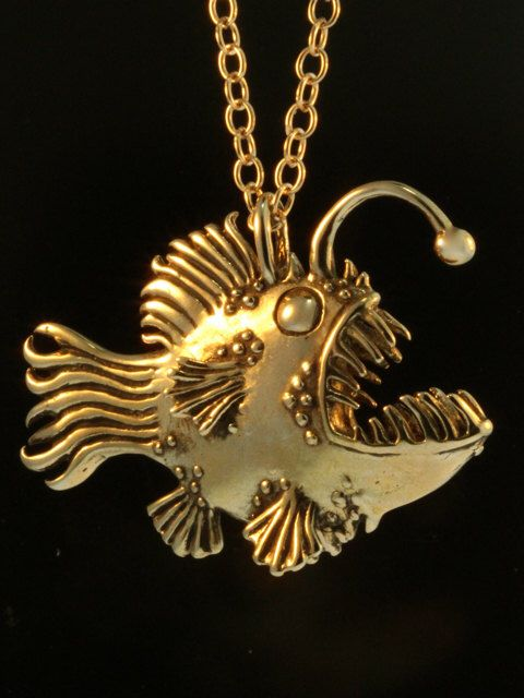 Fish Necklace Angler Fish Necklace Bronze Fish Pendant Large Angler Fish Pendant Fish Jewelry Scary Fish Lantern Fish Monster of the Deep by martymagic on Etsy https://www.etsy.com/ca/listing/214945680/fish-necklace-angler-fish-necklace