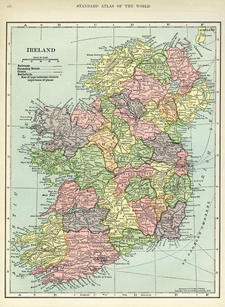Ireland Map Vintage Map Download Antique Map C S Hammond - Ireland map download