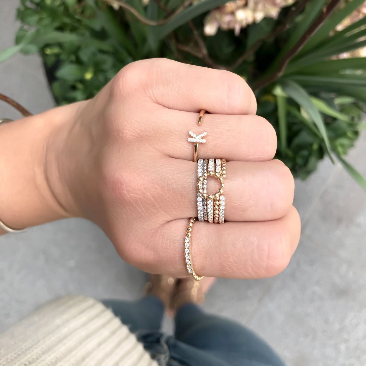 9ada782d454d18 single yellow gold initial ring r890 Dana Rebecca, Initial Jewelry,  Surefire, Gold Diamond