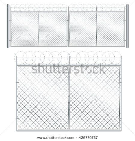 Fence and gate made of metal wire mesh on white background.