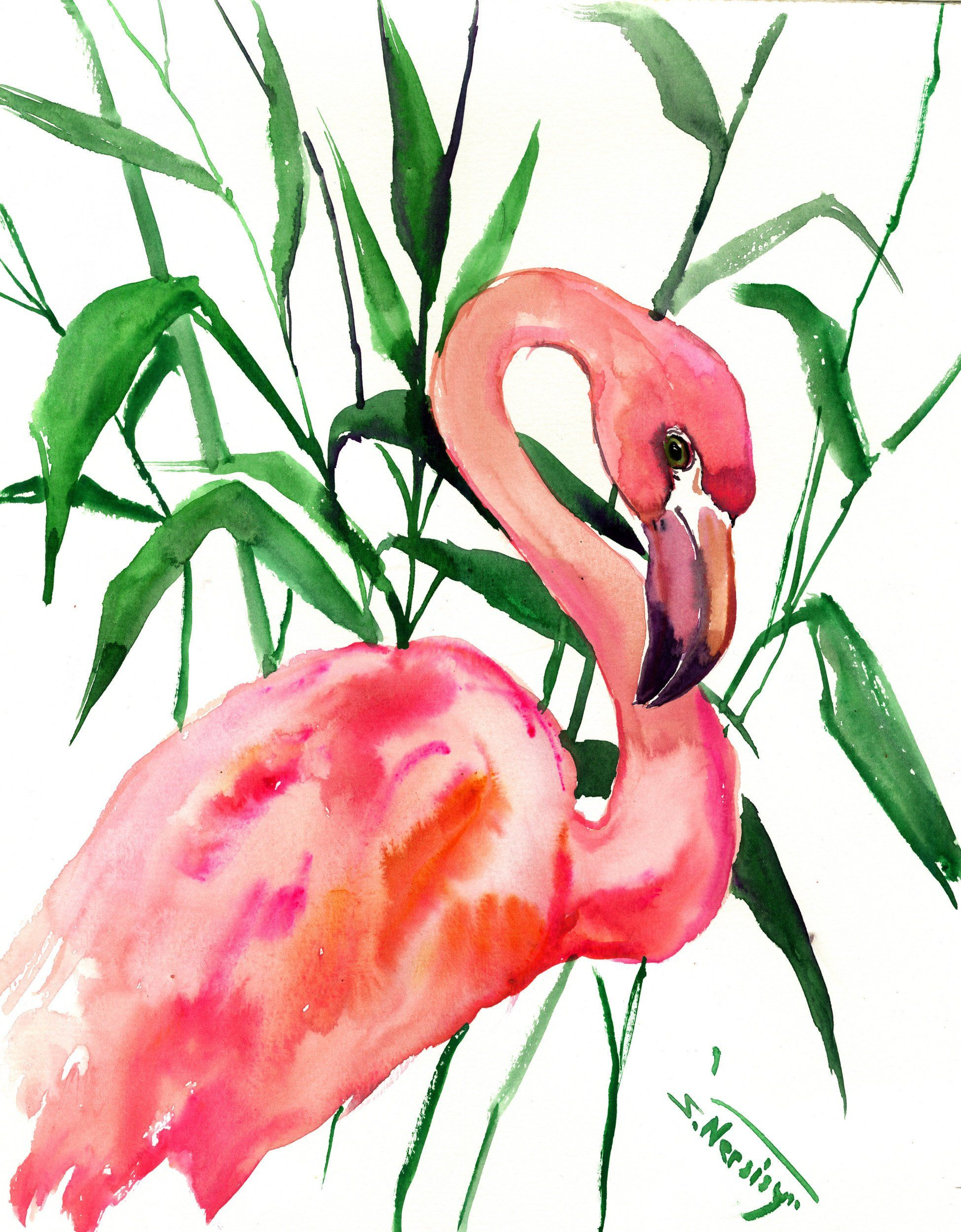 Pink Flamingo Artwork Painting Original Watercolor Pink Flamingo Lover Flamingo Painting Flamingo Wall Art Pink Ro Art Flamingo Artwork Flamingo Painting