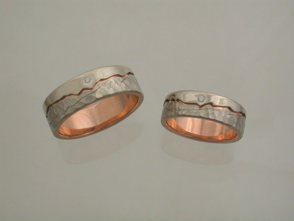 Custom Wedding Bands Completed Mountain Rings In Rose And White Goldscreated Our Freeport Maine Goldsmiths Studio Workshop