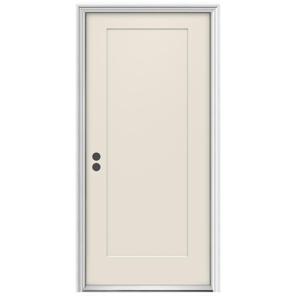 Jeld Wen 36 In X 80 In 1 Panel Craftsman Primed Right Hand Inswing Steel Craftsman Prehung Front Door Thdqc229900093 Steel Front Door Steel Doors Front Door