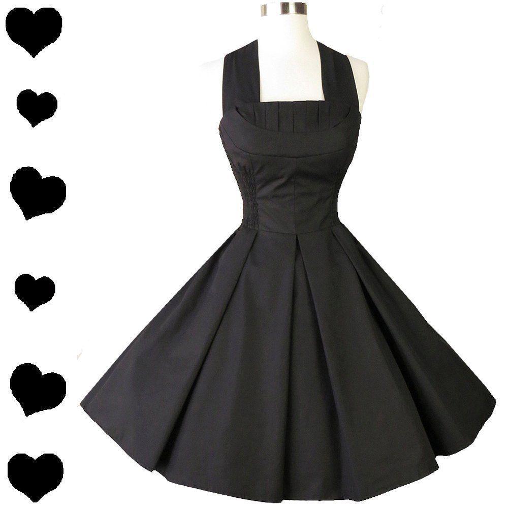 Retro black shelf bust halter full skirt prom party dress s s