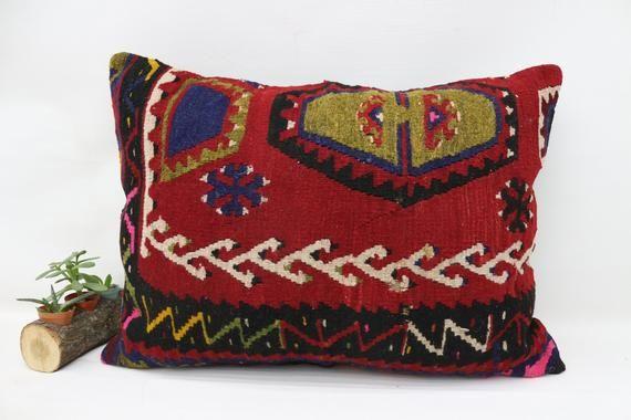 20x28 Turkey Kilim Pillow, Oriental Pillow,Large Lumbar Pillow, Cushion Cover, Indoor Pillow, Red Pi