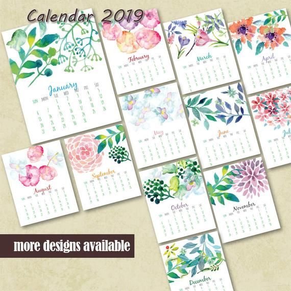 Hand Painted Watercolor Calendar Monthly Calendar Printable Wall