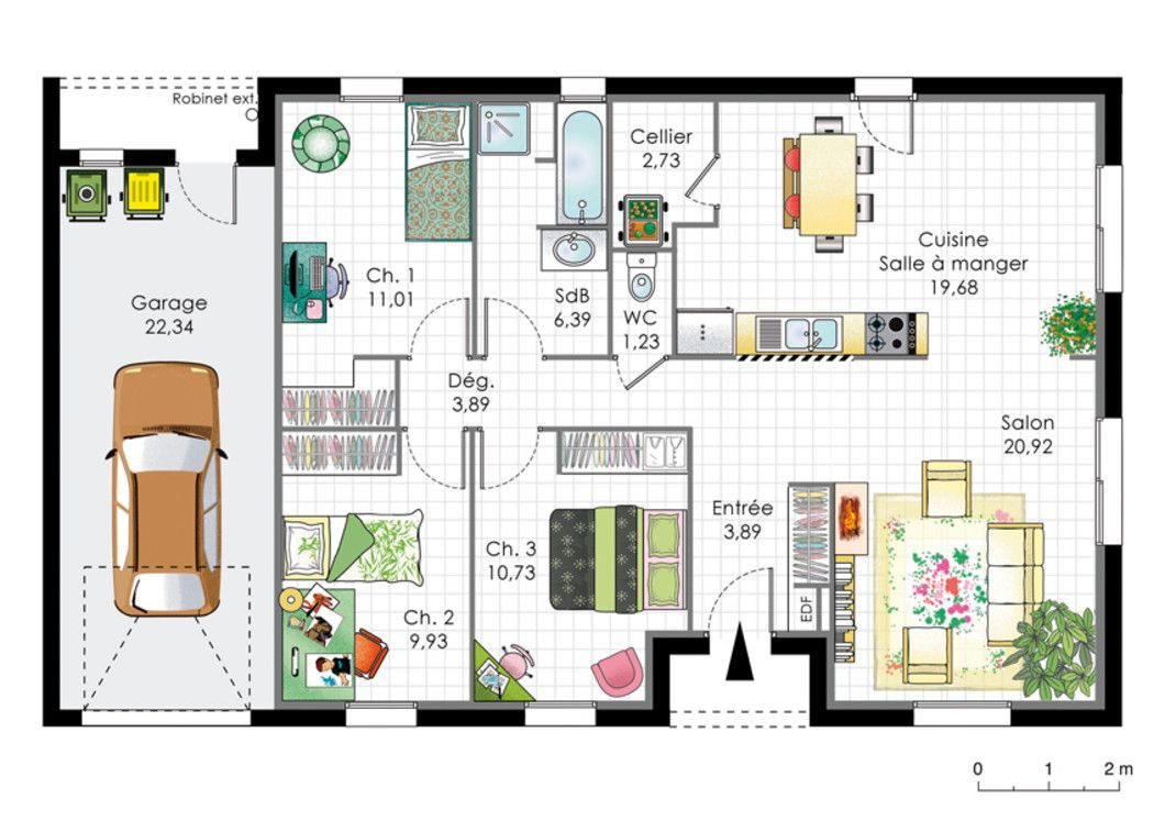 Plan maison americaine maison de r ve en 2018 for Plan maison bungalow avec garage