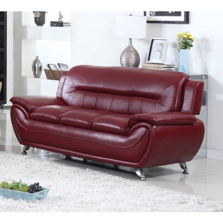ufe norton burgundy faux leather modern living room sofa red rh pinterest com
