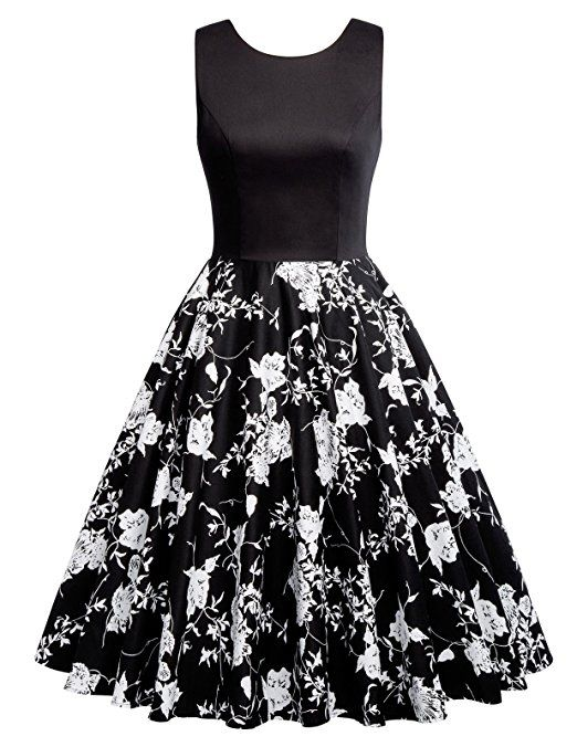 2ee9c65ecc7 GRACE KARIN Boatneck Sleeveless Vintage Tea Dress With Belt at Amazon  Women s Clothing store