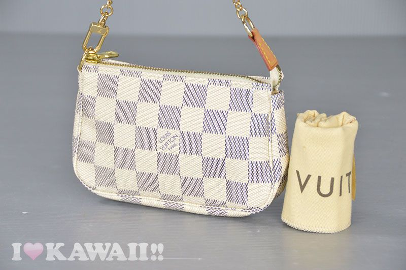 f526b947229a Auth Louis Vuitton Damier Azur Mini Pochette Accessoires Hand Pouch N58010