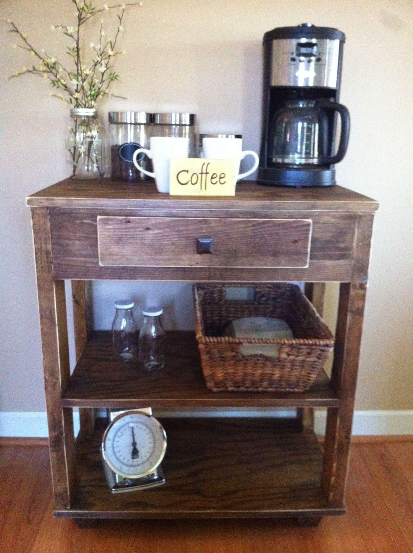 This beautiful rustic coffee bar/kitchen island will look