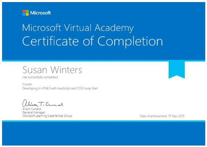 Microsoft Certificate Of Completion Html Css And Javascript Certificate Of Completion Microsoft Virtual Academy
