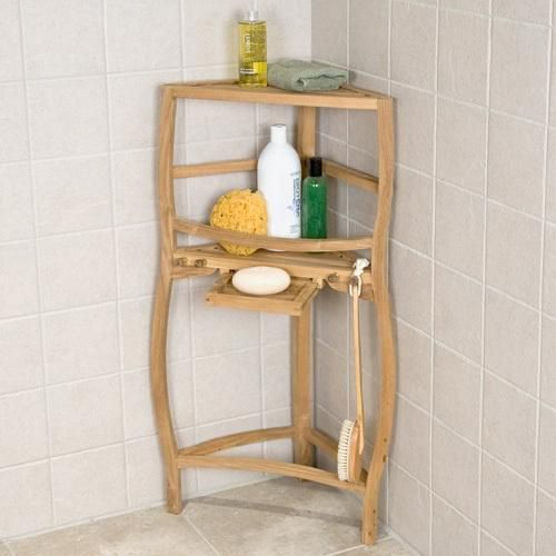 Freestanding Teak Wood Curved Corner Shower Shelf With Pull Out Soap Dish Crossing My Fingers This Works