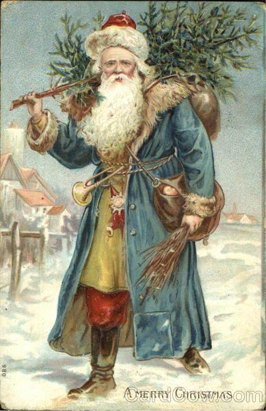 German Santa With Blue Robe Santa Claus Victorian