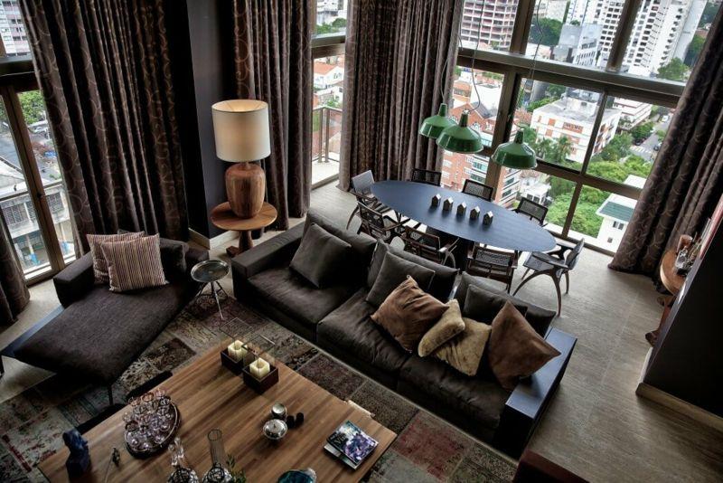 Modernes Wohnzimmer mit Essplatz in gedeckten Farben inspiration - wohnzimmer schwarz braun