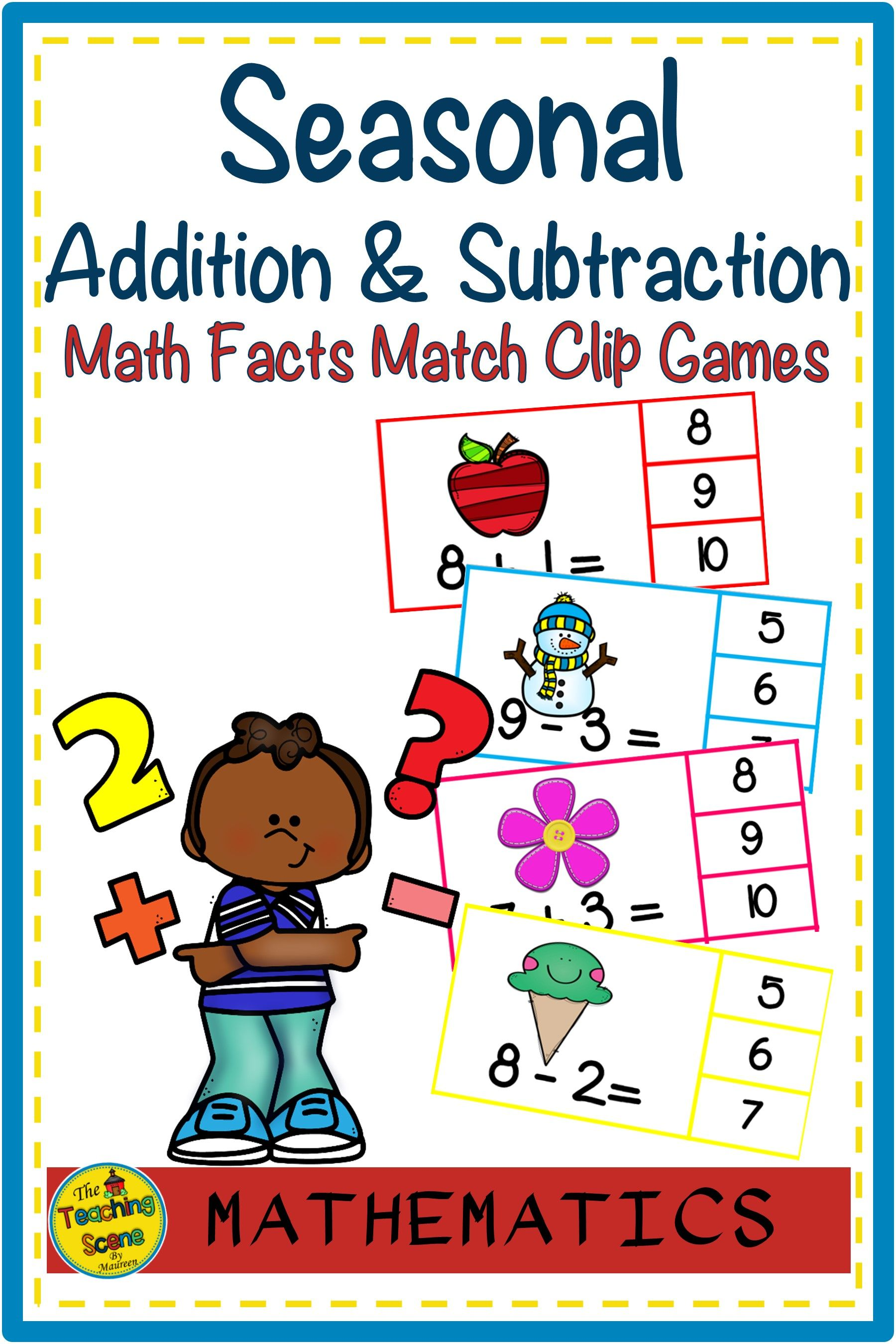 Seasonal Addition Amp Subtraction Facts 0 10 Math Clip Game