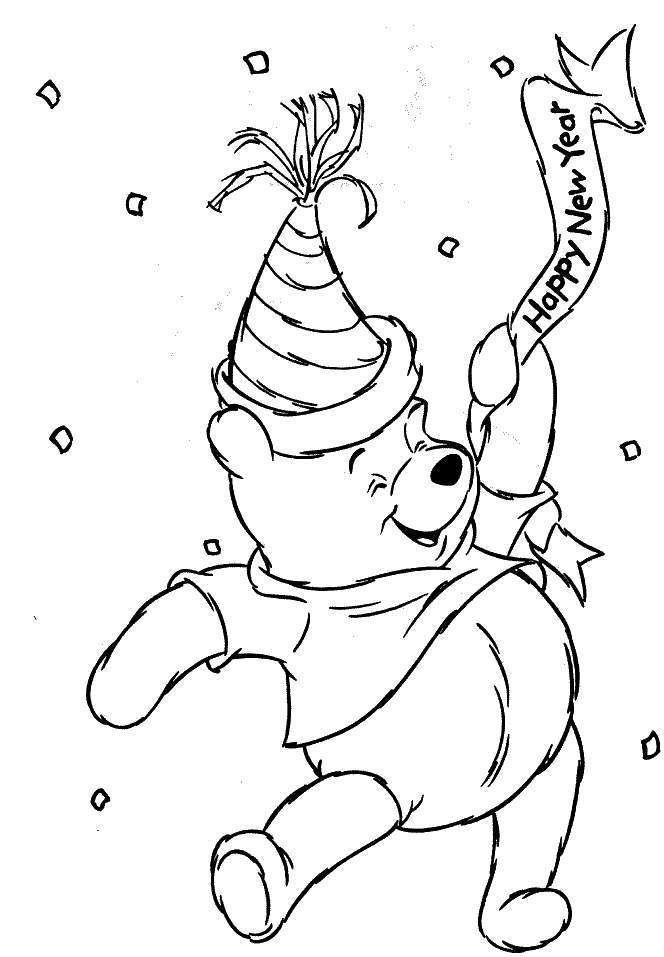 New Year S Eve Day Coloring Pages Part Ii Bear Coloring Pages New Year Coloring Pages Disney Coloring Pages