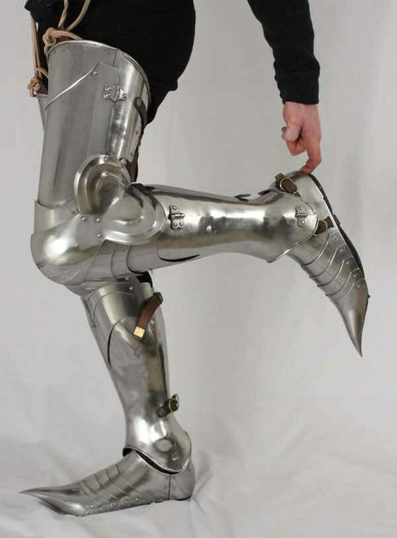 Medieval Larp Armor Leg Guard Steel Greaves Leg Guard With Shoes