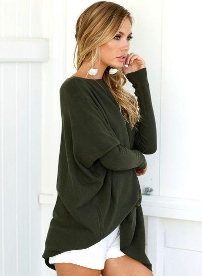 effc50531e6 Women s Solid Loose Fit Batwing Sleeve T-Shirt Tunic Dress - ROAWE ...