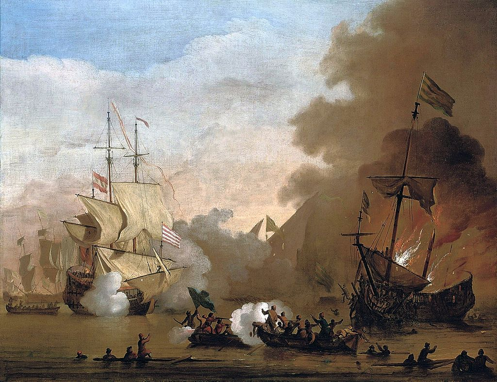 1660 Maritime Ships at Anchor on the Coast Willem van de Velde ca Antyki i Sztuka