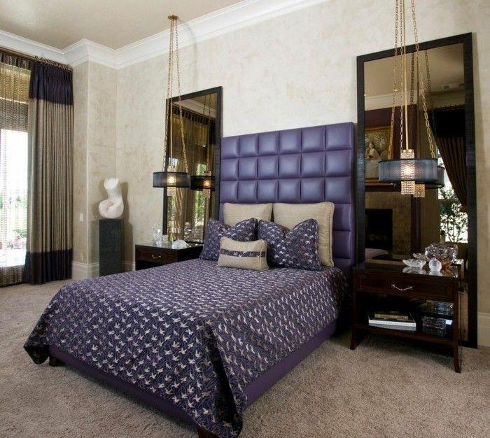 wohnideen schlafzimmer hängelampen schöne bettwäsche teppichboden ...