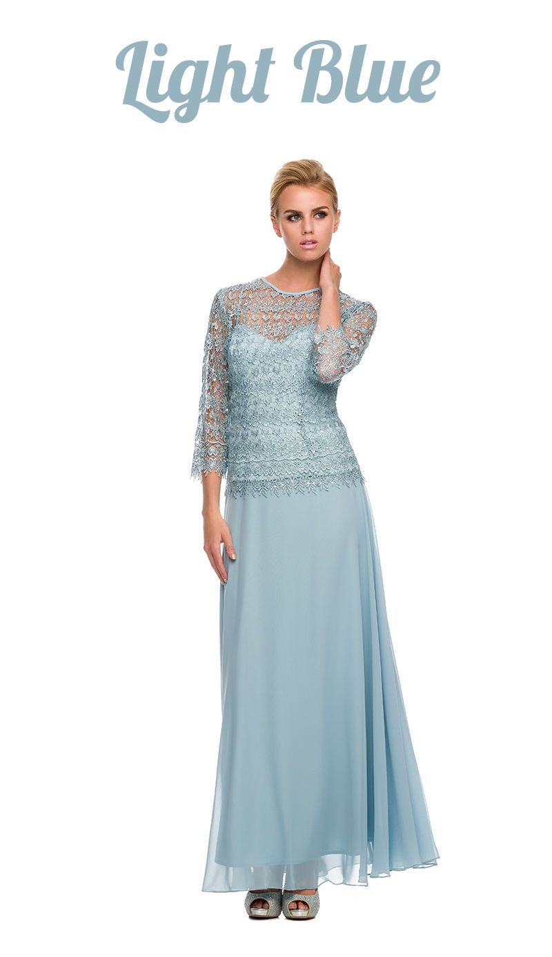 Plus Size Chiffon/Lace Mother Bride Dress Light Blue | Bride dresses ...